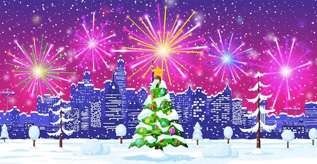 Kerstkaart met stedelijk landschap en vuurwerk. stadsgezicht met wolkenkrabber huizen met salute in night. winter city gezellige stad stadspanorama. nieuwjaar kerstmis xmas banner. platte vectorillustratie