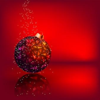 Kerstkaart met sterren kerst bal.
