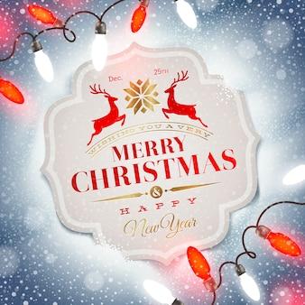Kerstkaart met vakantie typeontwerp en kerstlicht