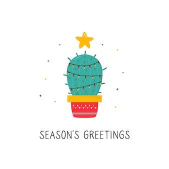 Kerstkaart met vakantie versierde cactus geïsoleerd op een witte achtergrond