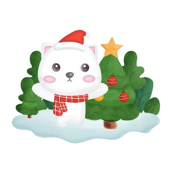 Kerstkaart met waterkleur kat in het bos.