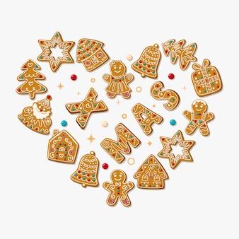Kerstkaart met zelfgemaakte gingerbread cookies gevouwen in de vorm van een hart op een witte achtergrond.