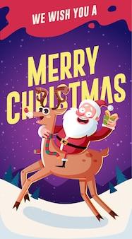 Kerstkaart ontwerpsjabloon met de kerstman en geschenken. vector illustratie