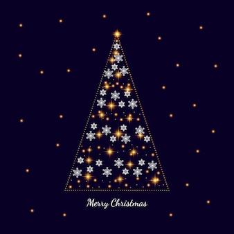 Kerstkaart op donkere achtergrond kerstboom versierd met sneeuwvlokken en lichte slingers