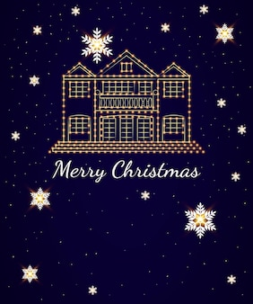 Kerstkaart op een donkere achtergrond een groot huis versierd met heldere slingers
