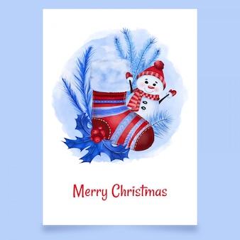 Kerstkaart rode kous met sneeuwpop