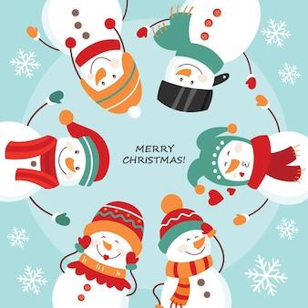 Kerstkaart. ronde dans van sneeuwmannen.