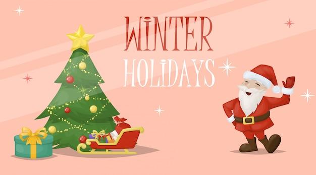 Kerstkaart santa xmas groet decoratie vakantie illustratie.