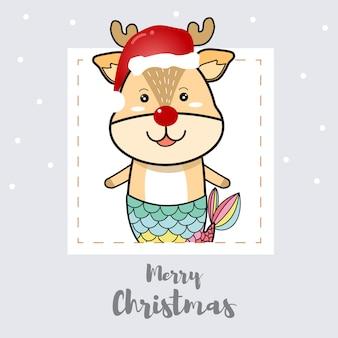 Kerstkaart, schattig rendier zeemeermin cartoon