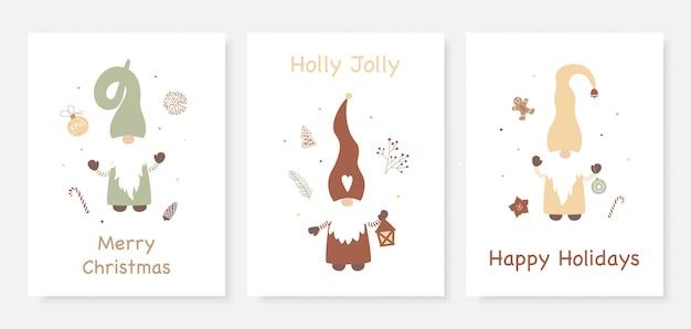 Kerstkaart set met schattige kleine kabouters.