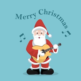 Kerstkaart van de kerstman die akoestische gitaar speelt