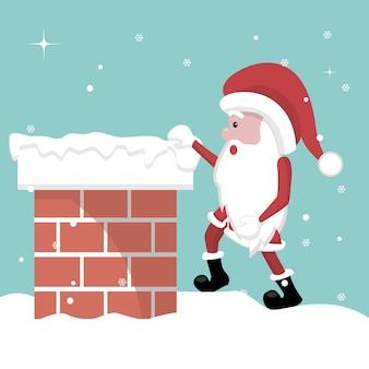 Kerstkaart van de kerstman die de open haard ingaat