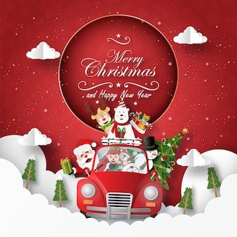 Kerstkaart van de kerstman en vriend met rode auto