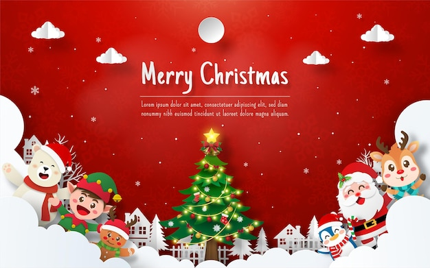 Kerstkaart van de kerstman en vrienden in het dorp