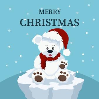 Kerstkaart van mooie ijsbeerbaby