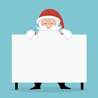 Kerstkaart van santa claus achter wit teken of aanplakbiljet