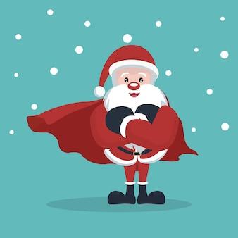 Kerstkaart van super kerstman met sneeuw vallen
