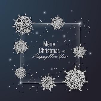 Kerstkaart versierd met glanzende sneeuwvlokken. gelukkig nieuwjaar wenskaart, vectorillustratie