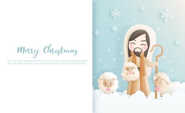 Kerstkaart, vieringen met jezus christus en zijn schapen, vectorillustratie.