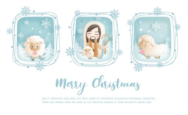 Kerstkaart, vieringen met jezus christus en zijn schapen