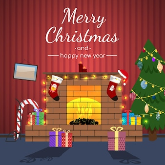 Kerstkaart vrolijk kerstfeest.