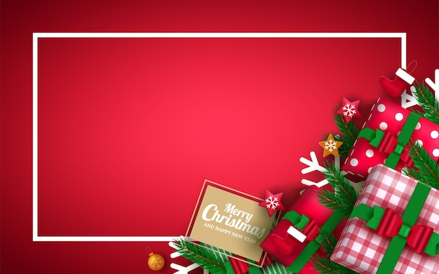 Kerstkaartachtergrond, kleurrijke elementen en ornament op rode achtergrond. .