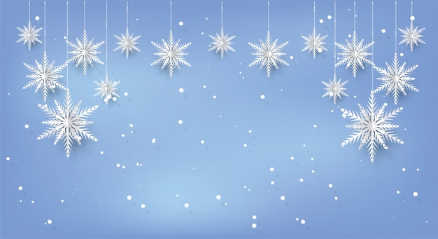 Kerstkaartachtergrond met document gesneden sneeuwvlok.