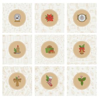 Kerstkaarten en pictogrammen.