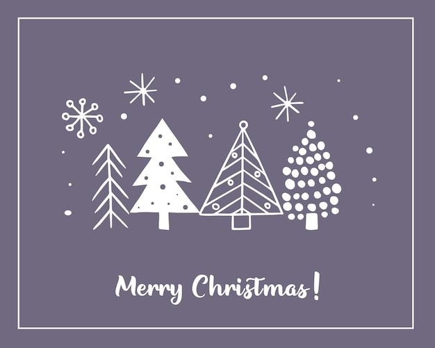 Kerstkaarten gemaakt van handgetekende gestileerde kerstbomen