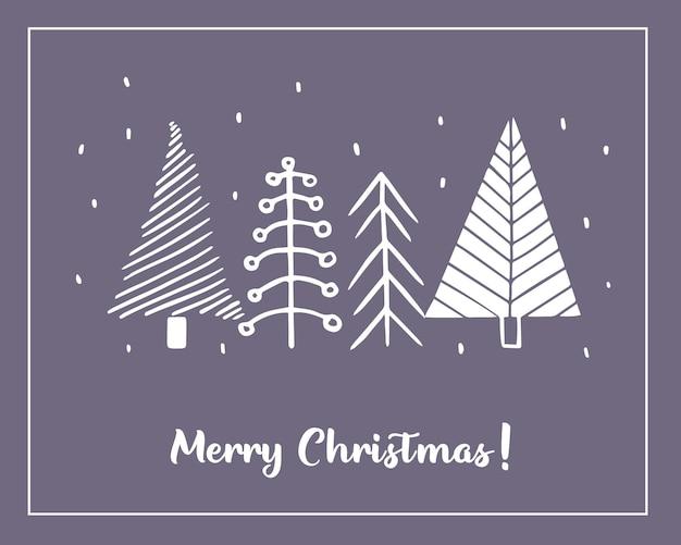 Kerstkaarten gemaakt van handgetekende gestileerde kerstboom