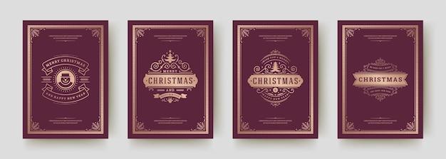 Kerstkaarten instellen vintage typografisch ontwerp, sierlijke decoratiesymbolen met wintervakantie wensen, florale ornamenten en bloeien frames
