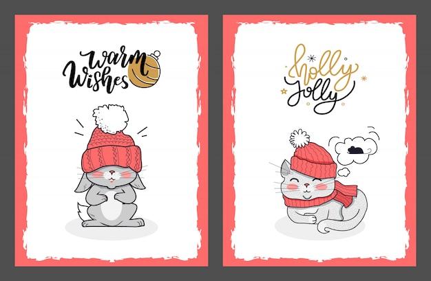 Kerstkaarten met bunny en holly jolly cat