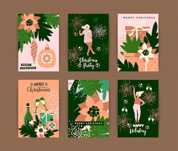 Kerstkaarten met dansende vrouwen en nieuwjaarssymbolen.