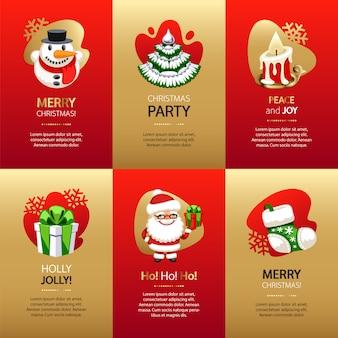 Kerstkaarten met goud en rood