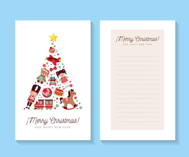 Kerstkaarten met kerstboom concept en lege ruimte