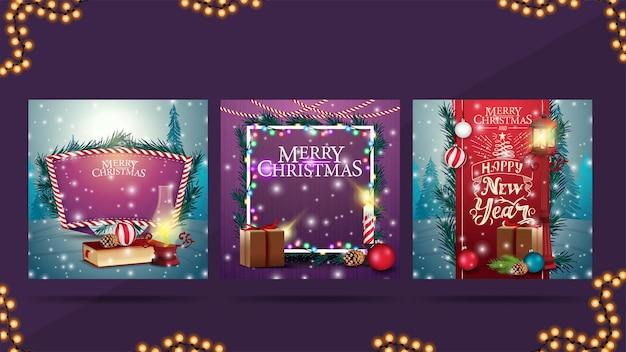 Kerstkaarten met kerstlandschappen op achtergronden voor uw kunsten.