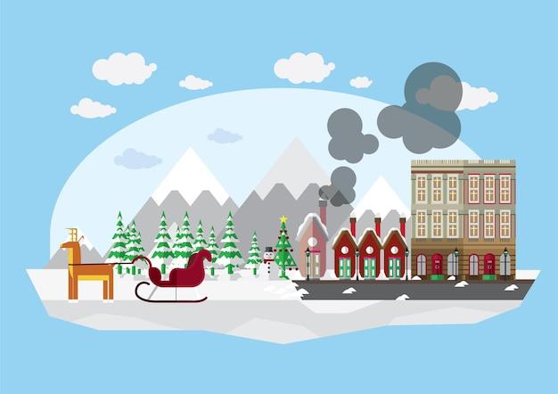 Kerstkaarten met kerstman en rendieren aangekomen in de stad