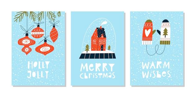 Kerstkaarten met letters en met de hand getekende elementen. ansichtkaart of uitnodiging sjabloon.