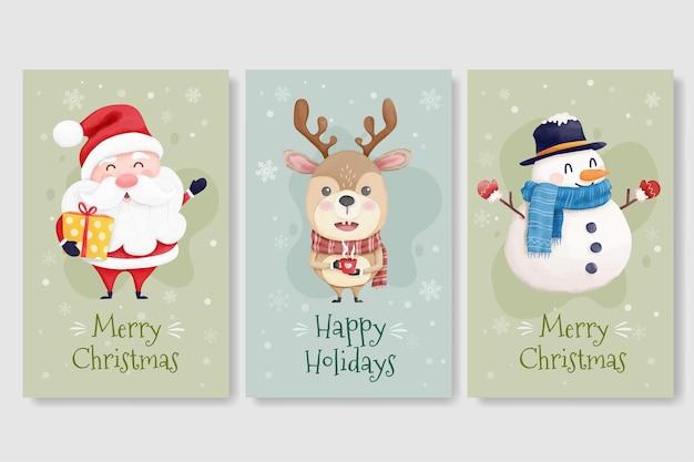 Kerstkaarten met schattig santarendier en sneeuwpop
