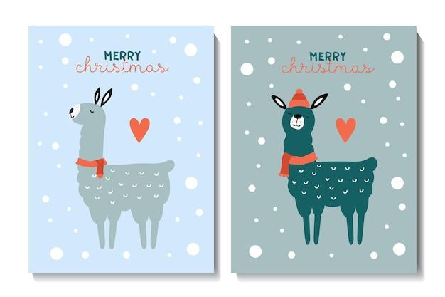 Kerstkaarten met schattige lama's kinderachtige vectorillustratie afdrukken op poster ansichtkaarten kleding