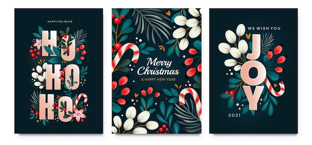Kerstkaarten met versieringen van takken, bessen en bladeren. een set kaarten met vakantiegroeten.
