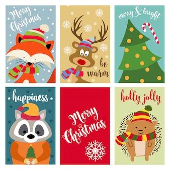 Kerstkaartinzameling met dieren en wensen