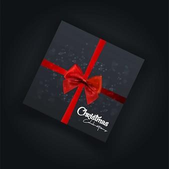 Kerstkaartontwerp met elegant ontwerp en donkere achtergrond ve