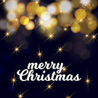 Kerstkaartontwerp met elegant ontwerp en donkere achtergrond