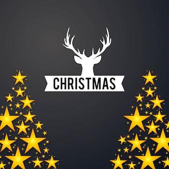 Kerstkaartontwerp met elegant ontwerp en donkere vector als achtergrond