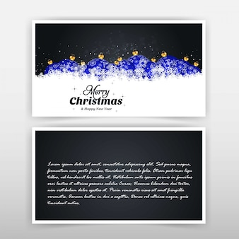 Kerstkaartontwerp met elegant ontwerp en zwarte achtergrond v