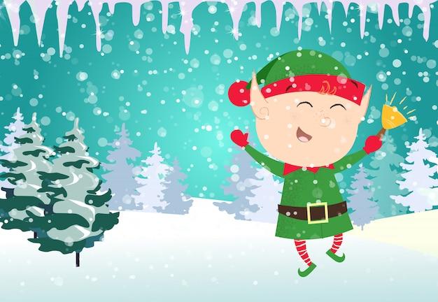 Kerstkaartsjabloon. dansende elf van kerstmis