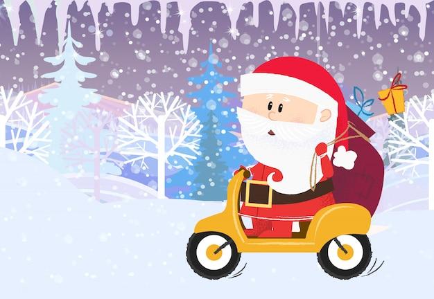 Kerstkaartsjabloon. kerstman met zak geschenken