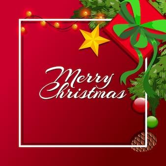 Kerstkaartsjabloon met rode achtergrond