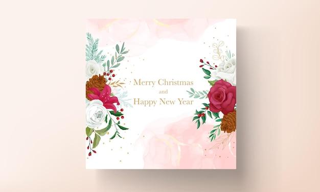 Kerstkaartsjabloonontwerp met prachtige bloemen en bladgoud